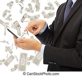 עסק, כסף, גשם, טלפן, לגעת, רקע, חכם, איש