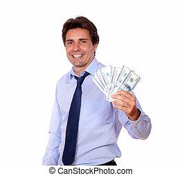 עסק, כסף, , פדה, להחזיק, לחייך איש