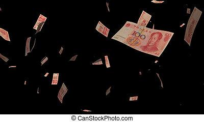 עסק, כסף, concept., הפרד, רקע שחור, נפול