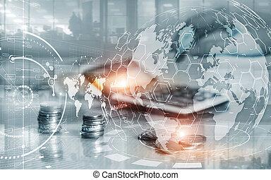 עסק, להחליף, חשיפה, אחסן, ממן, marketing., שלוט, אסטרטגיה, לוח, מושג, כפיל