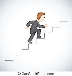 עסק, לטפס, הצלחה, מדרגה, איש