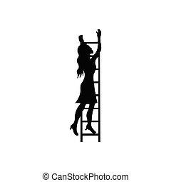 עסק, לטפס, סולם, אישה