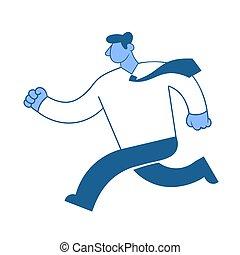 עסק, למהר, businessman., אופי, איש, דירה, לרוץ, shirt., וקטור, לבן, הפרד, דוגמה, רקע., סיגנון