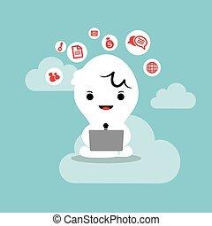 עסק, לעבוד, מחשב נייד, רשת, ענן, איש