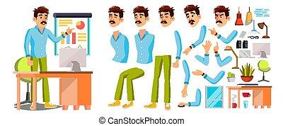 עסק, לעבוד, פקיד, אופי, משרד, worker., עובד, דוגמה, צפה, expressions., אנימציה, male., רגשות, מוכר, set., איש, designer., ציור היתולי, vector.