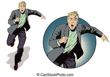 עסק, לרוץ, illustration., man., אחסן