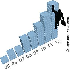 עסק, מטפס, , שרטט, מכירות, נתונים, איש