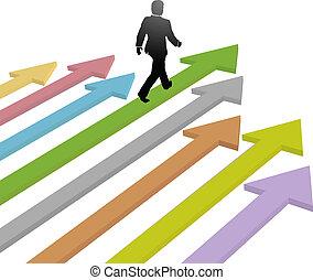 עסק, עתיד, חץ, הולך, מתקדם, מנהיג
