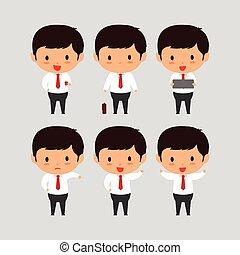 עסק, צעיר, דוגמה, אלגנטי, וקטור, set2, איש