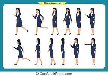 עסק, רוץ, סיגנון, הבט, קבע, קנת, ציור היתולי, דירה, חזית, ללכת, כמו, woman., movements., מיגוון, לך, אופי, הבט, תמוך, אוסף, לרוץ, dislike.