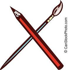 עפרון, אומן, עבור, ראטרו, צחצח
