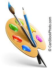 עפרון, לוח צבעים, אומנות, צבע מיברשת, כלים, ציור