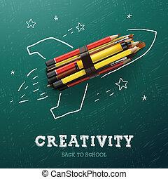 עפרונות, יצירתיות, learning., טוס