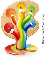עפרונות, מושג, אומנות, צבע, עץ, יצירתי