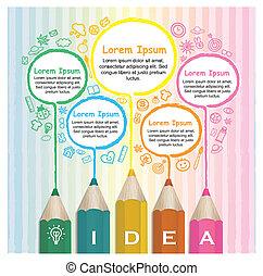 עפרונות, צבעוני, יצירתי, infographic, דפוסית, ציור של קו