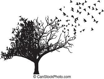 עץ, וקטור, אומנות, צפור