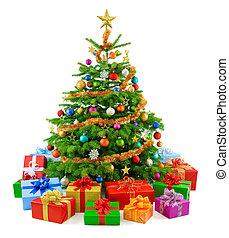עץ, עשיר, צבעוני, *g*, חג המולד