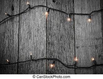 עץ, פשוט, אורות, עץ, רקע, חג המולד לבן
