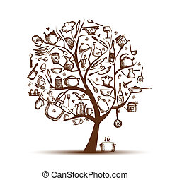 עץ, ציור, שלך, אומנות, כליים, רשום, עצב, מטבח