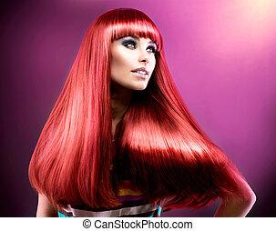 עצב, יופי, hair., דגמן, ארוך, בריא, אדום, ישר