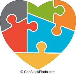 עצב, לוגו, לב, מודעות, autism