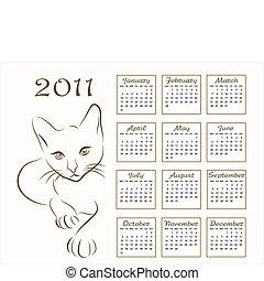 עצב, לוח שנה, 2011, תאר, חתול