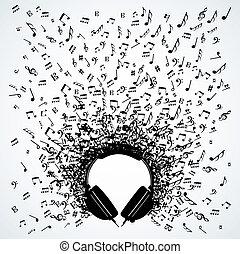 עצב, רואה, אזניות, מוסיקה, הפרד