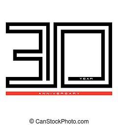 עצב, שלושים, מושג, יום שנה, וקטור, 30, שנה, לוגו, חגיגה