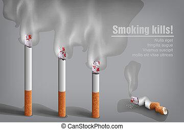 עצוד, סיגריה, עשן