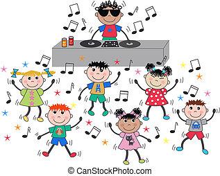 ערבב, לרקוד, ילדים, אתני, דיסקוטק