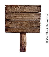 עשה, ישן, מעץ, wood., חתום, board., פרסם, לוח