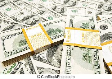 עשרה, כסף, אלף, דולר, רקע, ערימות