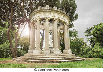 עתיק, בצע, פנטזיה, רומאי, רקע שחור, תאורה, לבן, בית מקדש, נוף