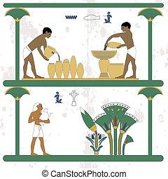 עתיק, כד, work., נשאים, מצרים, לקחת, plantation., אנשים, השקה, רקע., קנה, היסטורי, איש