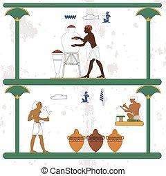 עתיק, work., רקע., מצרים, אנשים, כאראמיסט, jugs., היסטורי, לספור, טפסר