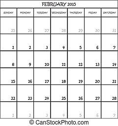 פברואר, מתכנן, חודש, רקע, 2015, לוח שנה, שקוף