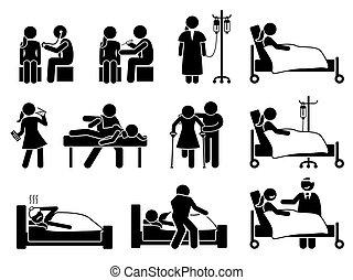 פגיעה, תרופה, שיקום, טיפול, חולה, מחלה, בית חולים, home., אישה