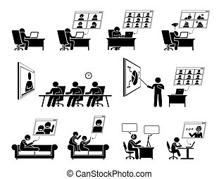 פגישה אונליין, בית, wfh, icons., או, וידאו, עבודה, ועידה