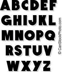 פונט, אלפבית, וקטור, type., נועז