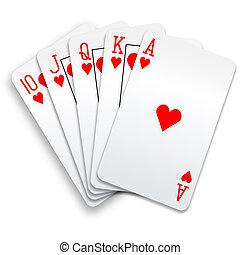 פוקר, ישר, מלכותי, העבר, רוקן, כרטיסים, לבבות, לשחק