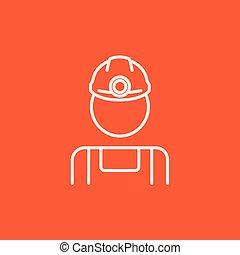 פחם, קו, כורה, icon.