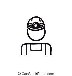 פחם, רשום, כורה, icon.