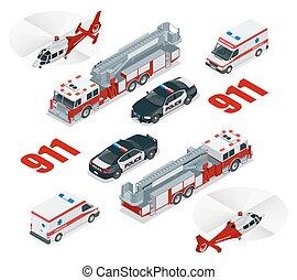 פטר, concept., מטען, משטרה, עיר, הובל, מסוק, חירום, איקון, 3d, משאית, אמבולנס, איזומטרי, set., 911., דירה, מספר