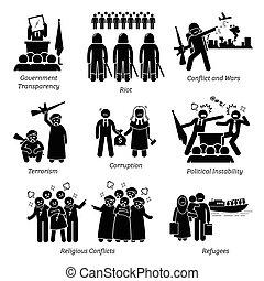 פיכטוגראם, בעיות, icons., סוציאלי, עולם, עניינים