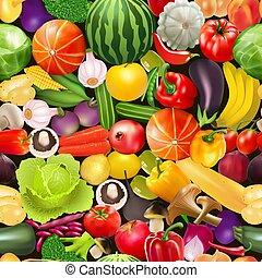 פירות, דוגמה, seamless, תבנית, ירקות, פטריות