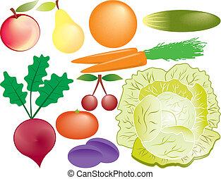 פירות, קבע, וקטור, ירקות