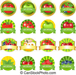פירות, קבע, מדבקות, ירקות