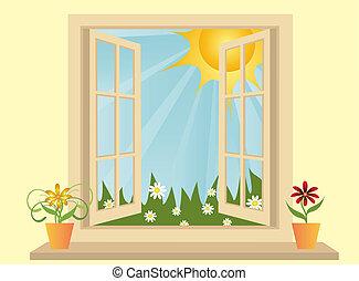 פלסטיק, הבט, חלון, ירוק, פתח, תחום, חדר