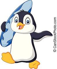 פנגווין, גלשון, להחזיק, ציור היתולי