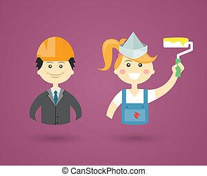 פנים, professions-, דקורטור, הנדס